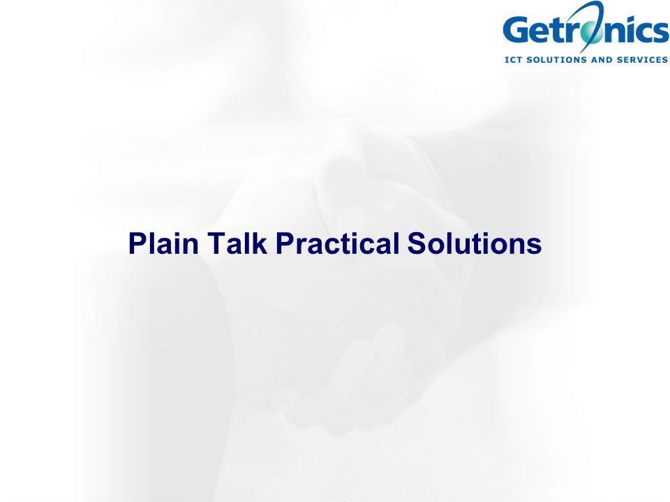 Plain Talk Practical Solutions