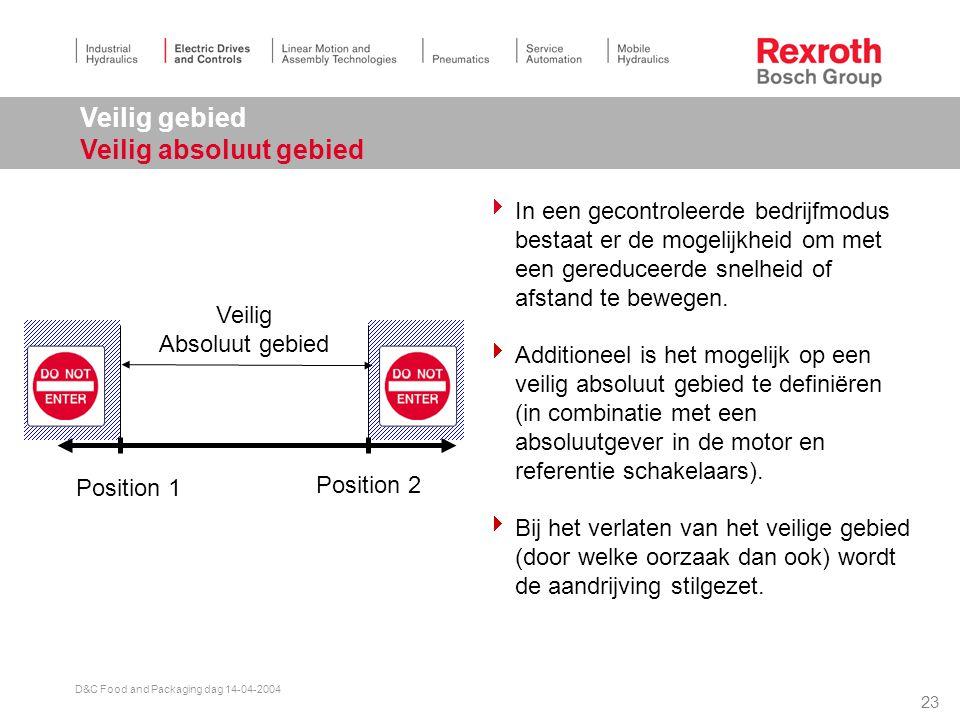22 D&C Food and Packaging dag 14-04-2004 Draairichting Veilige draairichting  In een gecontroleerde bedrijfmodus bestaat er de mogelijkheid om met een gereduceerde snelheid of afstand te bewegen.