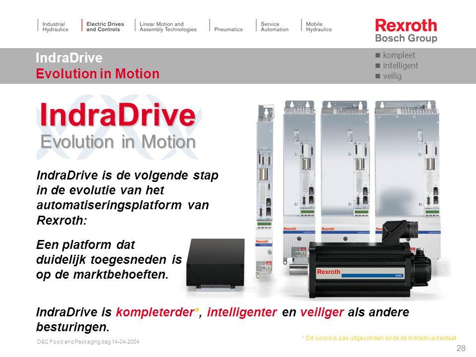 27 D&C Food and Packaging dag 14-04-2004 IndraDrive De nieuwe aandrijfgeneratie van Rexroth Ecodrive DIAX04 RD500 Servodyn-D Nieuwe ontwikkeling IndraDrive