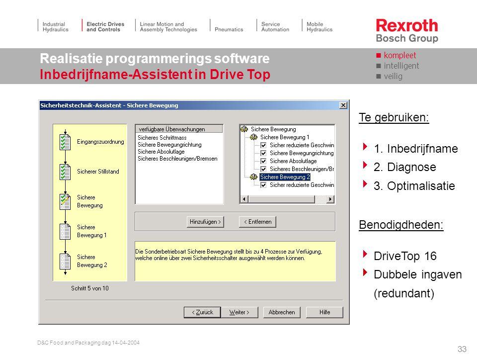 32 D&C Food and Packaging dag 14-04-2004 Veiligheidsfuncties in de drive Aansluiting van veiligheidsfuncties 2 Alternatief: S E R C O S Besturing Besturings deel S E R C O S Kanaal 1 M Vermogens deel I/O SI aktief I / O Kanaal 1 Processor Kanaal 2 Co-Processor SI aktief Kanaal 2 Kanaal 1 V E L D B U S v E L D B U S I/O- Interface Veiligheids- bus SI-Optie Aansluiting en terugmelding 24 V I/O SERCOS, Veldbus, Geen Veiligheidsbus.