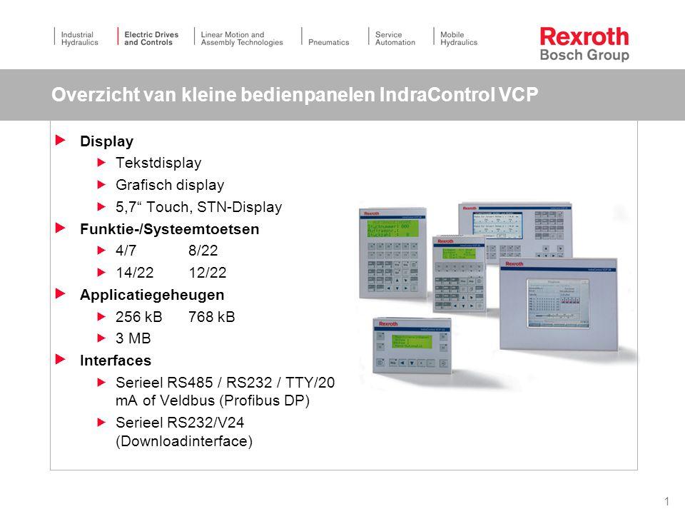 42 IndraControl L Kenmerken  Zeer kleine PLC met ethernet, Profibus -DP en SERCOS / optioneel  Onderhoudsvriendelijk door het ontbreken batterij en ventilator  Verwisselbaar geheugen voor software  Uitbreidbaar naar behoefte met meerdere veldbus interfaces of technologiemodule (bv nokkenschakelaar)  Standaard display voor diagnose aanwezig  I/O centraal en decentraal aan te koppelen  Meerdraads I/O aansluitingen