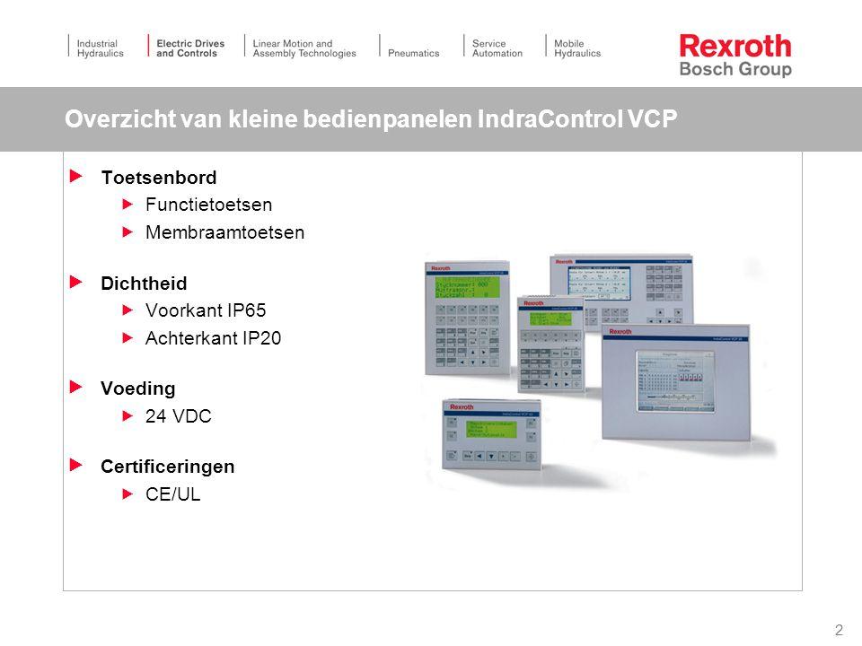 2 Overzicht van kleine bedienpanelen IndraControl VCP  Toetsenbord  Functietoetsen  Membraamtoetsen  Dichtheid  Voorkant IP65  Achterkant IP20  Voeding  24 VDC  Certificeringen  CE/UL