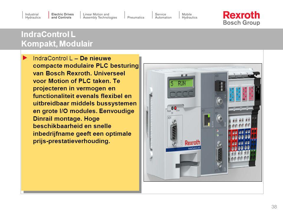 38 IndraControl L Kompakt, Modulair  IndraControl L – De nieuwe compacte modulaire PLC besturing van Bosch Rexroth.
