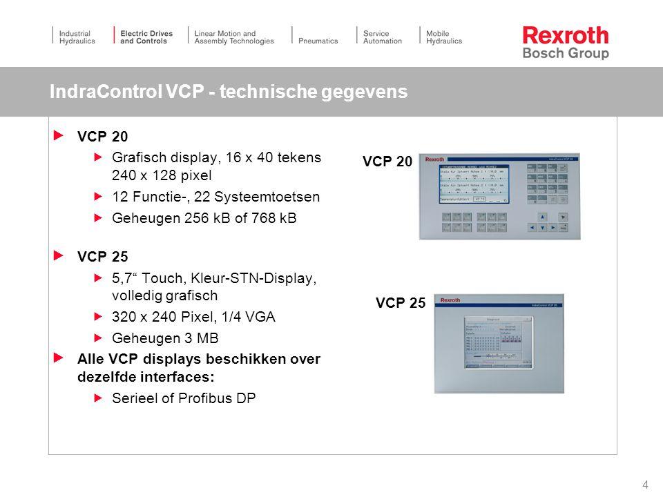4 IndraControl VCP - technische gegevens  VCP 20  Grafisch display, 16 x 40 tekens 240 x 128 pixel  12 Functie-, 22 Systeemtoetsen  Geheugen 256 kB of 768 kB  VCP 25  5,7 Touch, Kleur-STN-Display, volledig grafisch  320 x 240 Pixel, 1/4 VGA  Geheugen 3 MB  Alle VCP displays beschikken over dezelfde interfaces:  Serieel of Profibus DP VCP 20 VCP 25