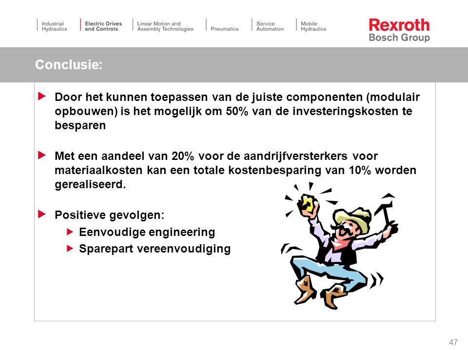 47 Conclusie:  Door het kunnen toepassen van de juiste componenten (modulair opbouwen) is het mogelijk om 50% van de investeringskosten te besparen  Met een aandeel van 20% voor de aandrijfversterkers voor materiaalkosten kan een totale kostenbesparing van 10% worden gerealiseerd.