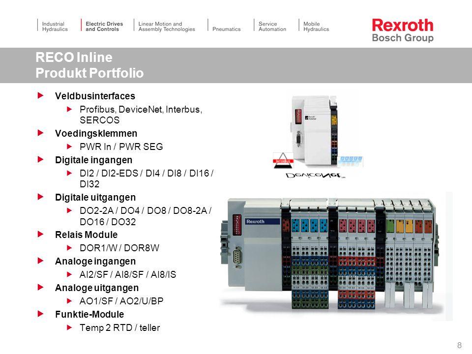 8 RECO Inline Produkt Portfolio  Veldbusinterfaces  Profibus, DeviceNet, Interbus, SERCOS  Voedingsklemmen  PWR In / PWR SEG  Digitale ingangen  DI2 / DI2-EDS / DI4 / DI8 / DI16 / DI32  Digitale uitgangen  DO2-2A / DO4 / DO8 / DO8-2A / DO16 / DO32  Relais Module  DOR1/W / DOR8W  Analoge ingangen  AI2/SF / AI8/SF / AI8/IS  Analoge uitgangen  AO1/SF / AO2/U/BP  Funktie-Module  Temp 2 RTD / teller