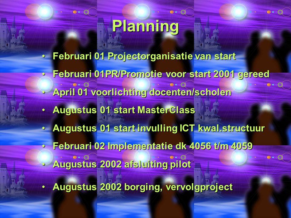 Planning Februari 01 Projectorganisatie van startFebruari 01 Projectorganisatie van start Februari 01PR/Promotie voor start 2001 gereedFebruari 01PR/P