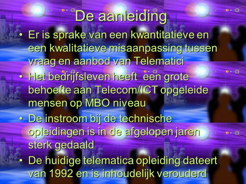 De aanleiding Er is sprake van een kwantitatieve en een kwalitatieve misaanpassing tussen vraag en aanbod van TelematiciEr is sprake van een kwantitatieve en een kwalitatieve misaanpassing tussen vraag en aanbod van Telematici Het bedrijfsleven heeft een grote behoefte aan Telecom/ICT opgeleide mensen op MBO niveauHet bedrijfsleven heeft een grote behoefte aan Telecom/ICT opgeleide mensen op MBO niveau De instroom bij de technische opleidingen is in de afgelopen jaren sterk gedaaldDe instroom bij de technische opleidingen is in de afgelopen jaren sterk gedaald De huidige telematica opleiding dateert van 1992 en is inhoudelijk verouderdDe huidige telematica opleiding dateert van 1992 en is inhoudelijk verouderd