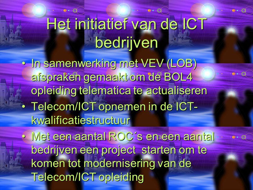 Het initiatief van de ICT bedrijven In samenwerking met VEV (LOB) afspraken gemaakt om de BOL4 opleiding telematica te actualiserenIn samenwerking met VEV (LOB) afspraken gemaakt om de BOL4 opleiding telematica te actualiseren Telecom/ICT opnemen in de ICT- kwalificatiestructuurTelecom/ICT opnemen in de ICT- kwalificatiestructuur Met een aantal ROC´s en een aantal bedrijven een project starten om te komen tot modernisering van de Telecom/ICT opleidingMet een aantal ROC´s en een aantal bedrijven een project starten om te komen tot modernisering van de Telecom/ICT opleiding
