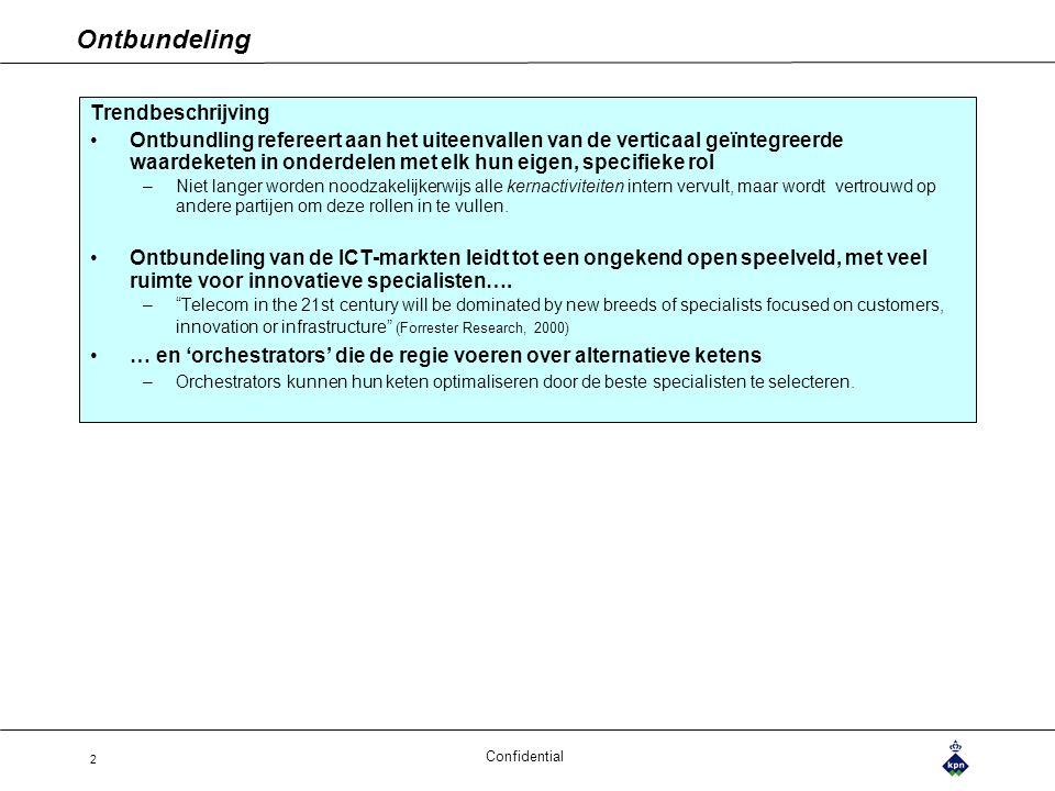 Confidential 2 Ontbundeling Trendbeschrijving Ontbundling refereert aan het uiteenvallen van de verticaal geïntegreerde waardeketen in onderdelen met