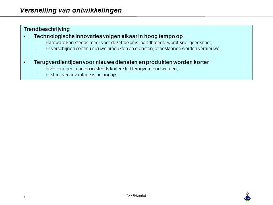 Confidential 4 Versnelling van ontwikkelingen Trendbeschrijving Technologische innovaties volgen elkaar in hoog tempo op –Hardware kan steeds meer voo