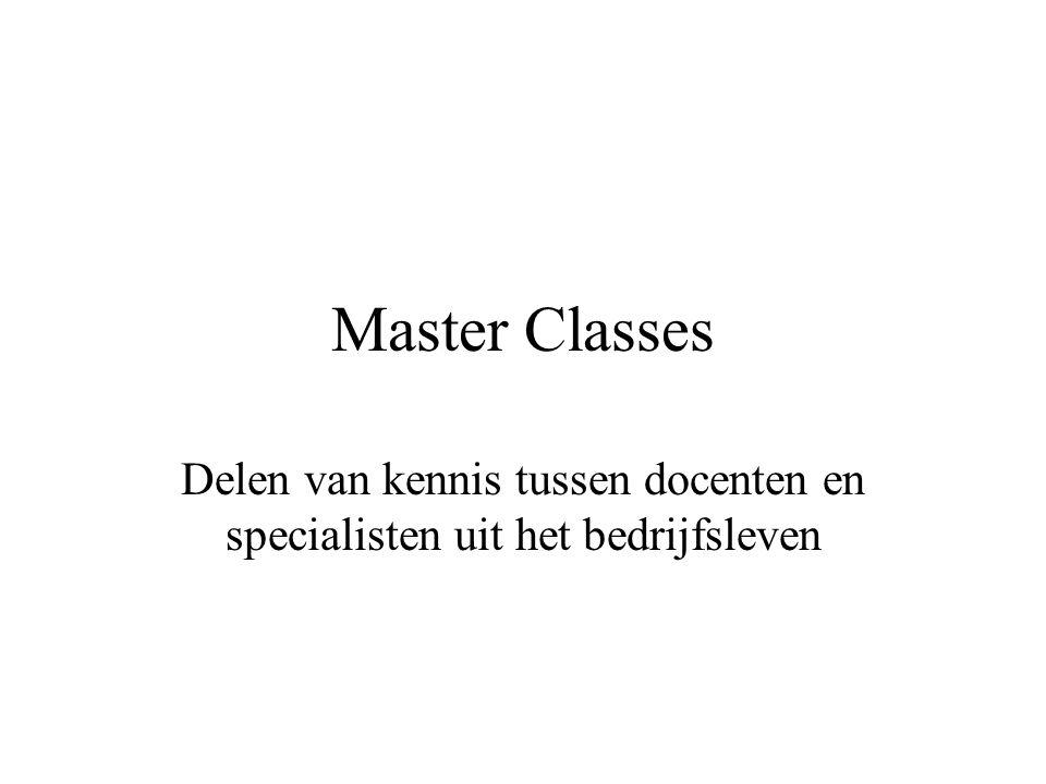 Master Classes Delen van kennis tussen docenten en specialisten uit het bedrijfsleven