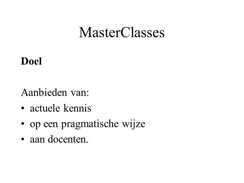 MasterClasses Doel Aanbieden van: actuele kennis op een pragmatische wijze aan docenten.