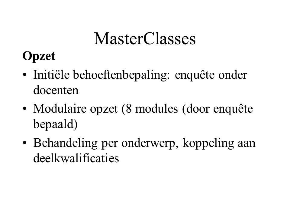 MasterClasses Opzet Initiële behoeftenbepaling: enquête onder docenten Modulaire opzet (8 modules (door enquête bepaald) Behandeling per onderwerp, koppeling aan deelkwalificaties