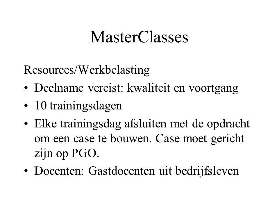 MasterClasses Resources/Werkbelasting Deelname vereist: kwaliteit en voortgang 10 trainingsdagen Elke trainingsdag afsluiten met de opdracht om een case te bouwen.