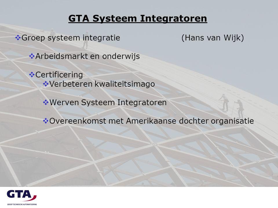 GTA Systeem Integratoren  Groep systeem integratie(Hans van Wijk)  Arbeidsmarkt en onderwijs  Certificering  Verbeteren kwaliteitsimago  Werven Systeem Integratoren  Overeenkomst met Amerikaanse dochter organisatie
