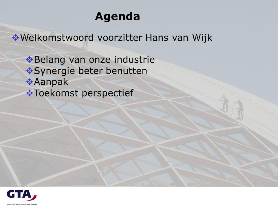 Agenda  Welkomstwoord voorzitter Hans van Wijk  Belang van onze industrie  Synergie beter benutten  Aanpak  Toekomst perspectief