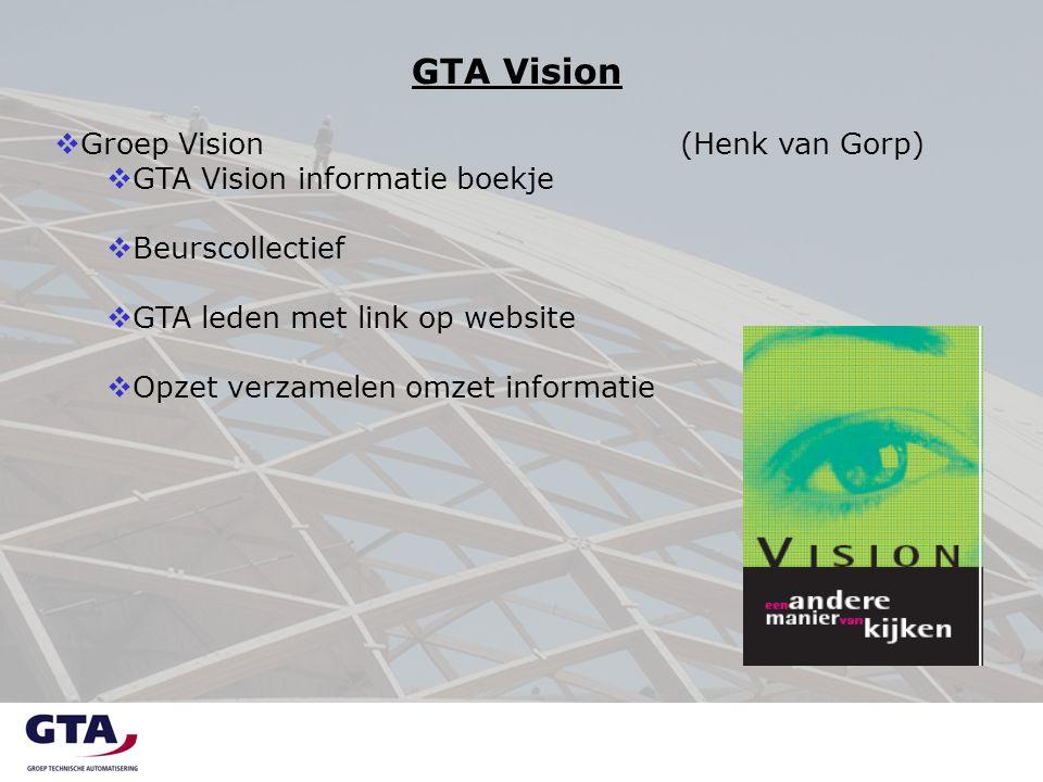 GTA Vision  Groep Vision(Henk van Gorp)  GTA Vision informatie boekje  Beurscollectief  GTA leden met link op website  Opzet verzamelen omzet informatie