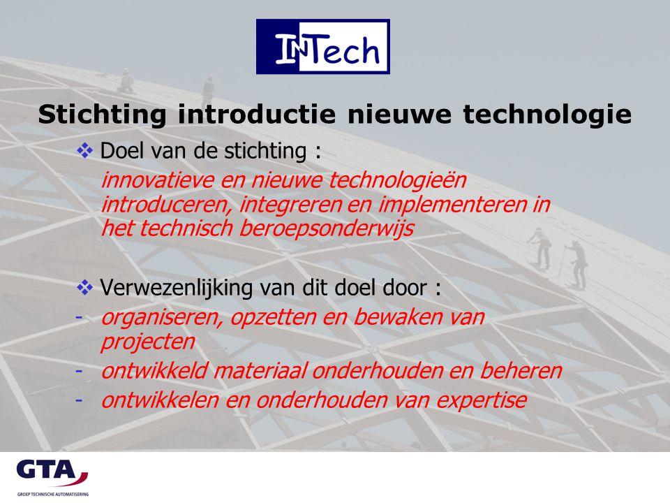 Stichting introductie nieuwe technologie  Doel van de stichting : innovatieve en nieuwe technologieën introduceren, integreren en implementeren in he