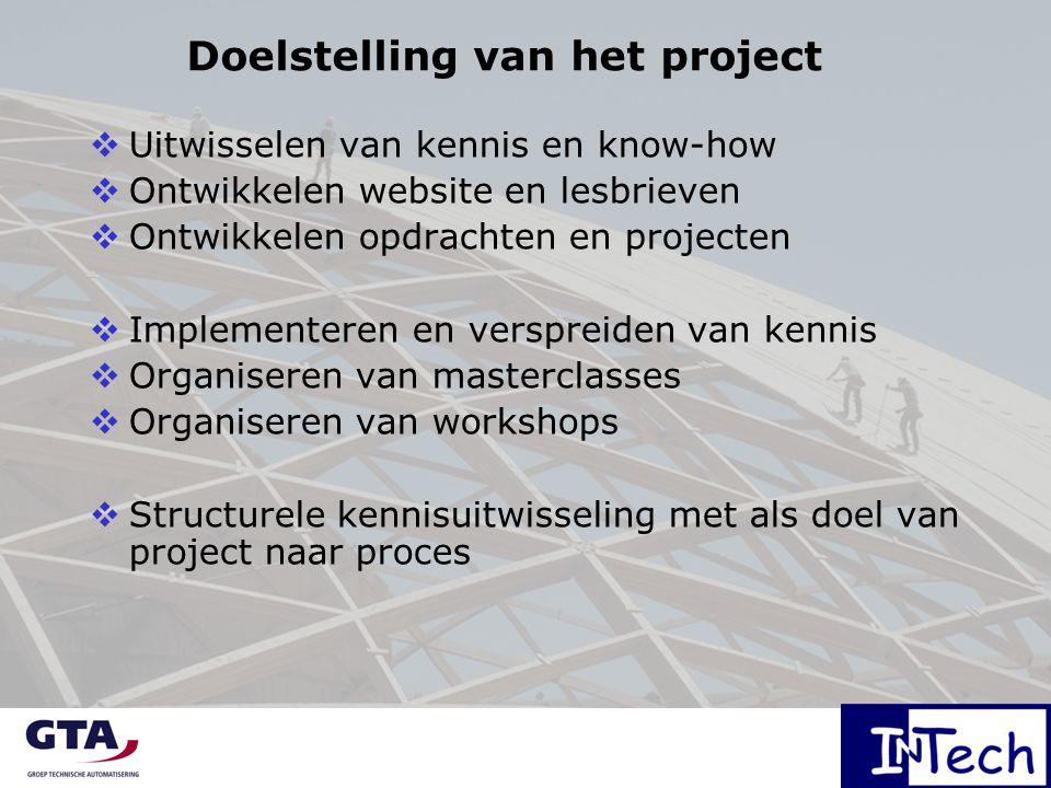 Doelstelling van het project  Uitwisselen van kennis en know-how  Ontwikkelen website en lesbrieven  Ontwikkelen opdrachten en projecten  Implementeren en verspreiden van kennis  Organiseren van masterclasses  Organiseren van workshops  Structurele kennisuitwisseling met als doel van project naar proces