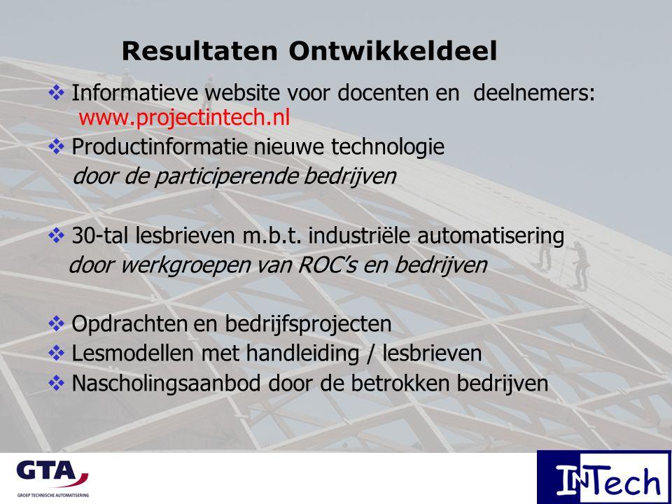 Resultaten Ontwikkeldeel  Informatieve website voor docenten en deelnemers: www.projectintech.nl  Productinformatie nieuwe technologie door de participerende bedrijven  30-tal lesbrieven m.b.t.