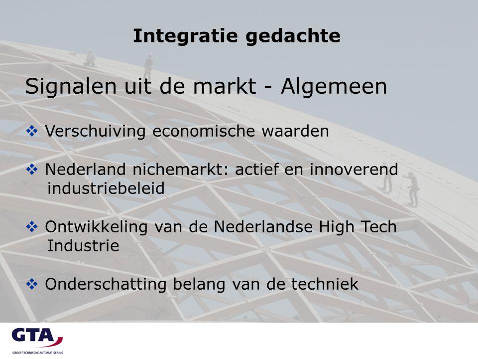 Integratie gedachte Signalen uit de markt - Algemeen  Verschuiving economische waarden  Nederland nichemarkt: actief en innoverend industriebeleid 
