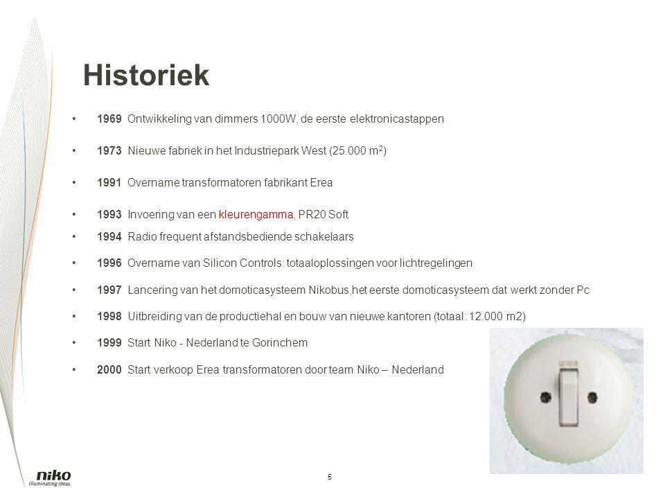 5 Historiek 1969Ontwikkeling van dimmers 1000W, de eerste elektronicastappen 1973Nieuwe fabriek in het Industriepark West (25.000 m 2 ) 1991 Overname