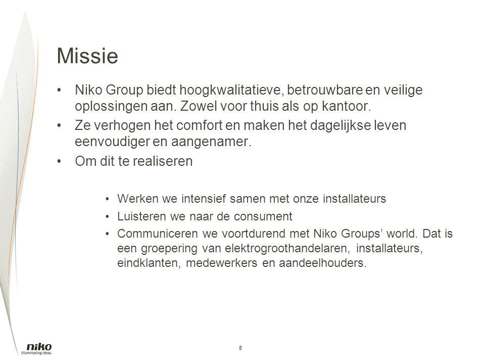 8 Missie Niko Group biedt hoogkwalitatieve, betrouwbare en veilige oplossingen aan. Zowel voor thuis als op kantoor. Ze verhogen het comfort en maken
