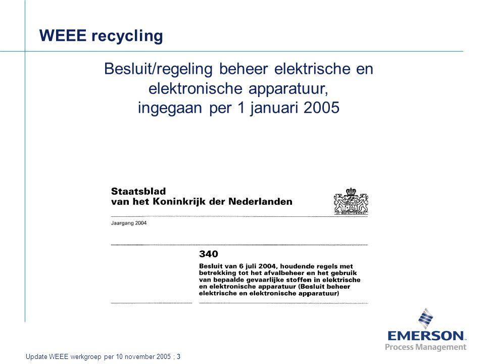 Update WEEE werkgroep per 10 november 2005 ; 3 WEEE recycling Besluit/regeling beheer elektrische en elektronische apparatuur, ingegaan per 1 januari 2005
