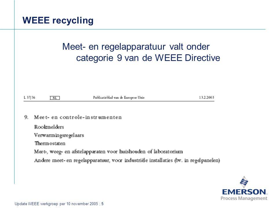 Update WEEE werkgroep per 10 november 2005 ; 5 WEEE recycling Meet- en regelapparatuur valt onder categorie 9 van de WEEE Directive