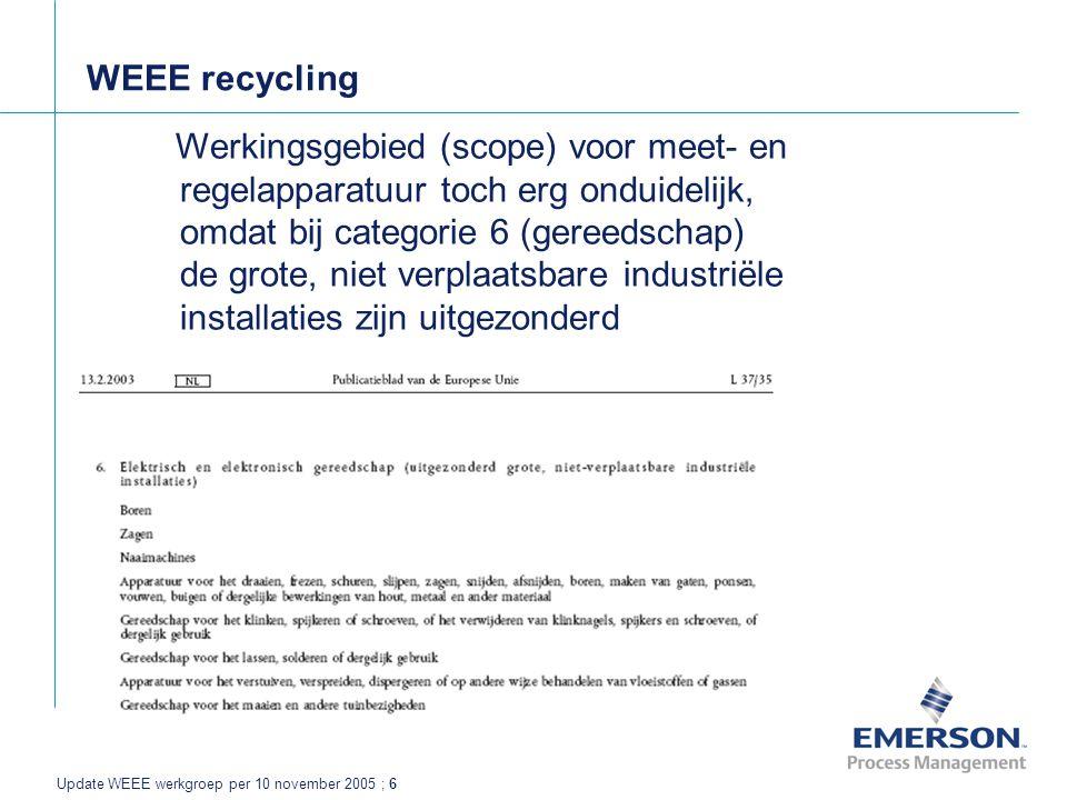Update WEEE werkgroep per 10 november 2005 ; 6 WEEE recycling Werkingsgebied (scope) voor meet- en regelapparatuur toch erg onduidelijk, omdat bij categorie 6 (gereedschap) de grote, niet verplaatsbare industriële installaties zijn uitgezonderd