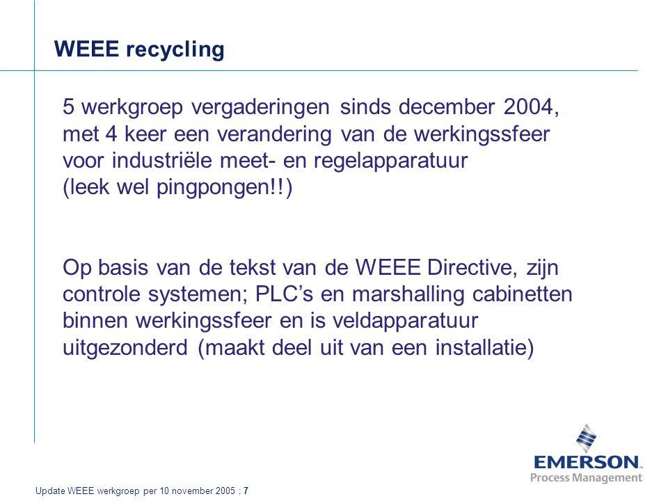 Update WEEE werkgroep per 10 november 2005 ; 7 WEEE recycling 5 werkgroep vergaderingen sinds december 2004, met 4 keer een verandering van de werkingssfeer voor industriële meet- en regelapparatuur (leek wel pingpongen!!) Op basis van de tekst van de WEEE Directive, zijn controle systemen; PLC's en marshalling cabinetten binnen werkingssfeer en is veldapparatuur uitgezonderd (maakt deel uit van een installatie)