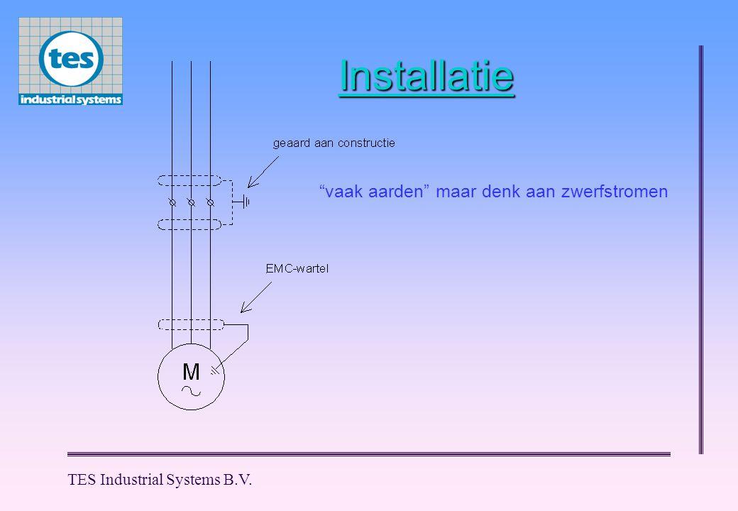 TES Industrial Systems B.V. Wapenen tegen storen Afscherming aan massa regelunit.