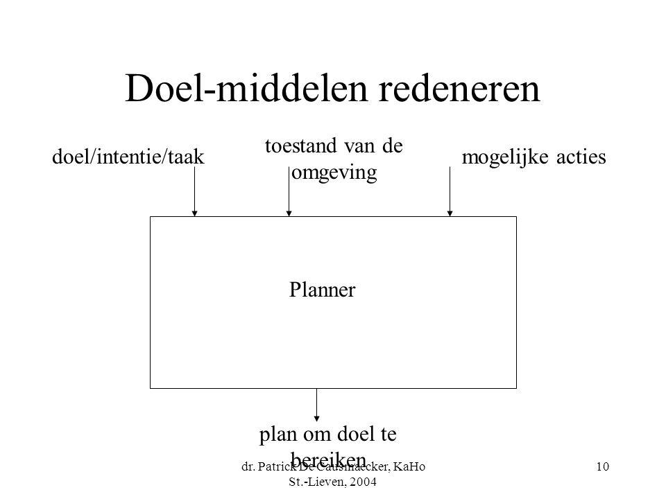 dr. Patrick De Causmaecker, KaHo St.-Lieven, 2004 10 Doel-middelen redeneren Planner doel/intentie/taak toestand van de omgeving mogelijke acties plan