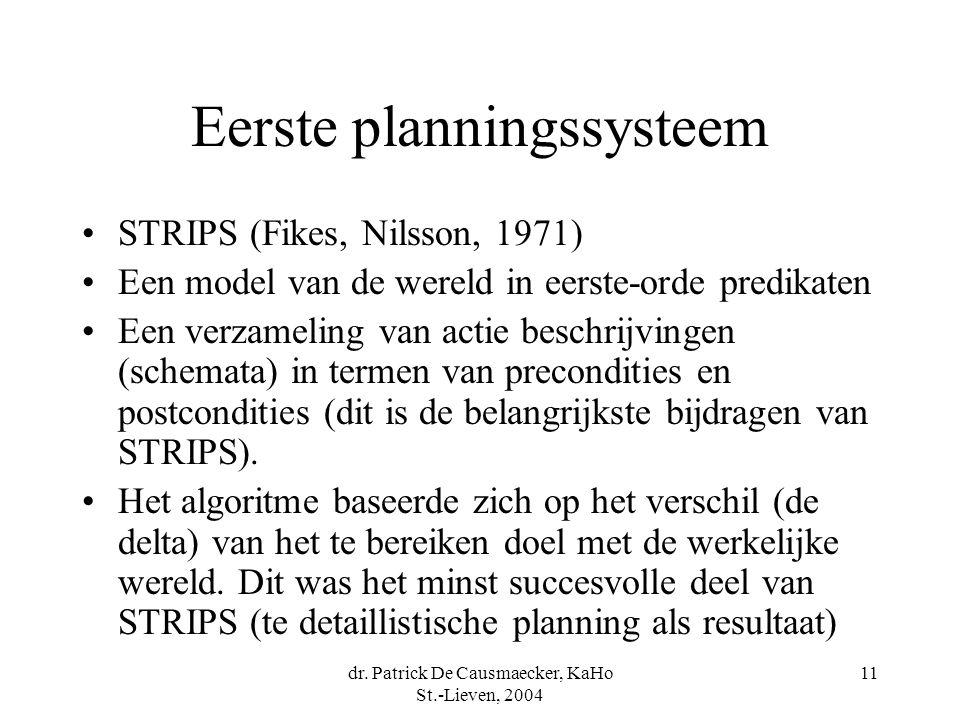 dr. Patrick De Causmaecker, KaHo St.-Lieven, 2004 11 Eerste planningssysteem STRIPS (Fikes, Nilsson, 1971) Een model van de wereld in eerste-orde pred