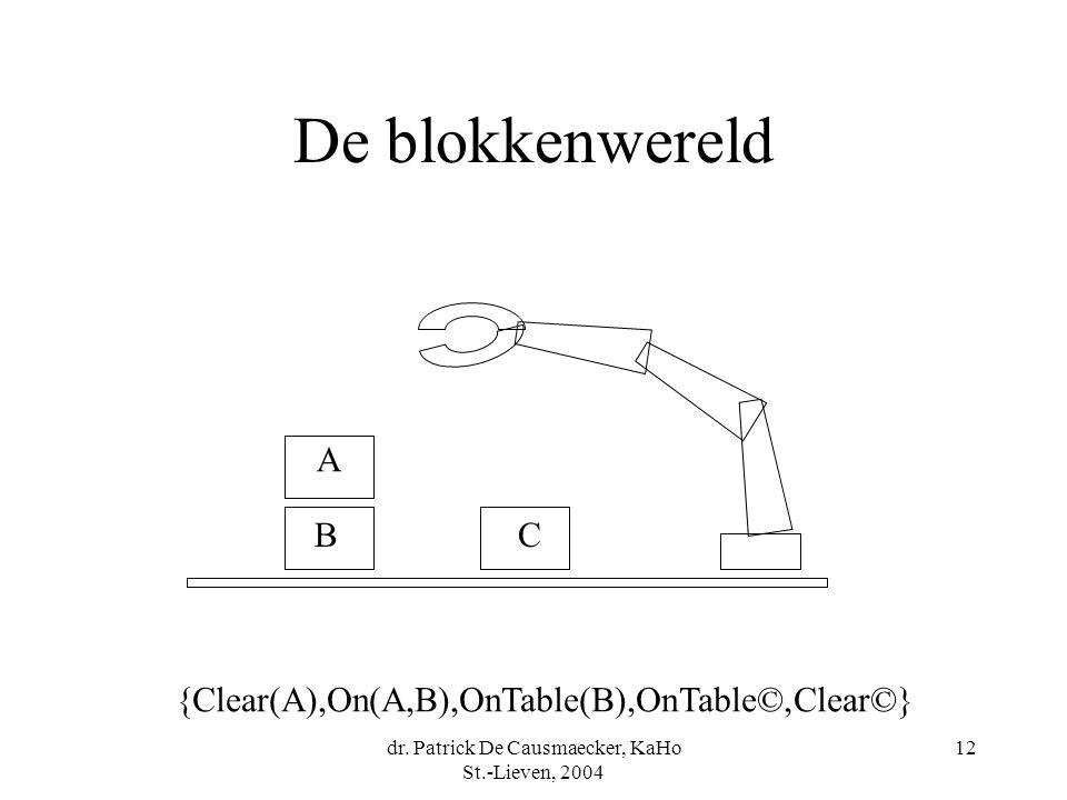 dr. Patrick De Causmaecker, KaHo St.-Lieven, 2004 12 De blokkenwereld A BC {Clear(A),On(A,B),OnTable(B),OnTable©,Clear©}