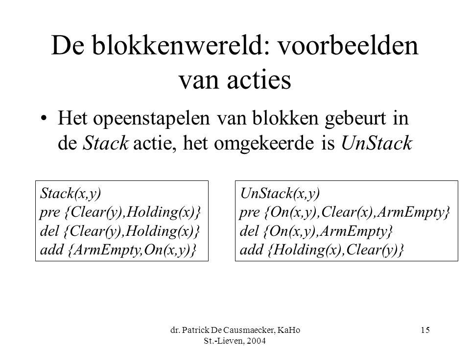 dr. Patrick De Causmaecker, KaHo St.-Lieven, 2004 15 De blokkenwereld: voorbeelden van acties Het opeenstapelen van blokken gebeurt in de Stack actie,