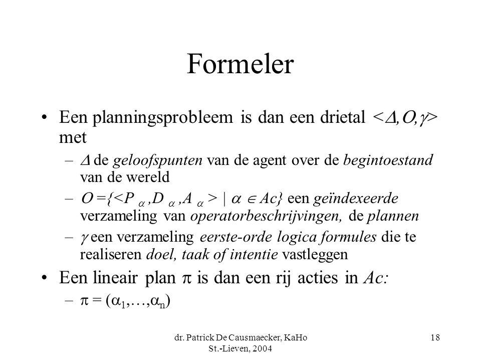 dr. Patrick De Causmaecker, KaHo St.-Lieven, 2004 18 Formeler Een planningsprobleem is dan een drietal met –  de geloofspunten van de agent over de b