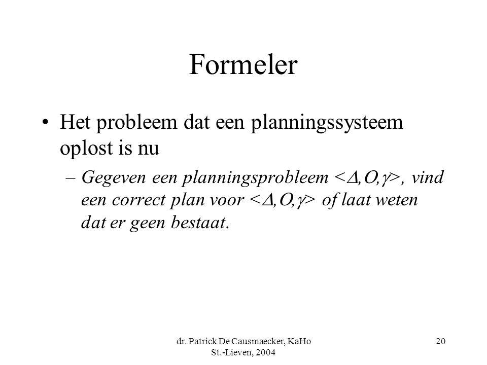 dr. Patrick De Causmaecker, KaHo St.-Lieven, 2004 20 Formeler Het probleem dat een planningssysteem oplost is nu –Gegeven een planningsprobleem, vind