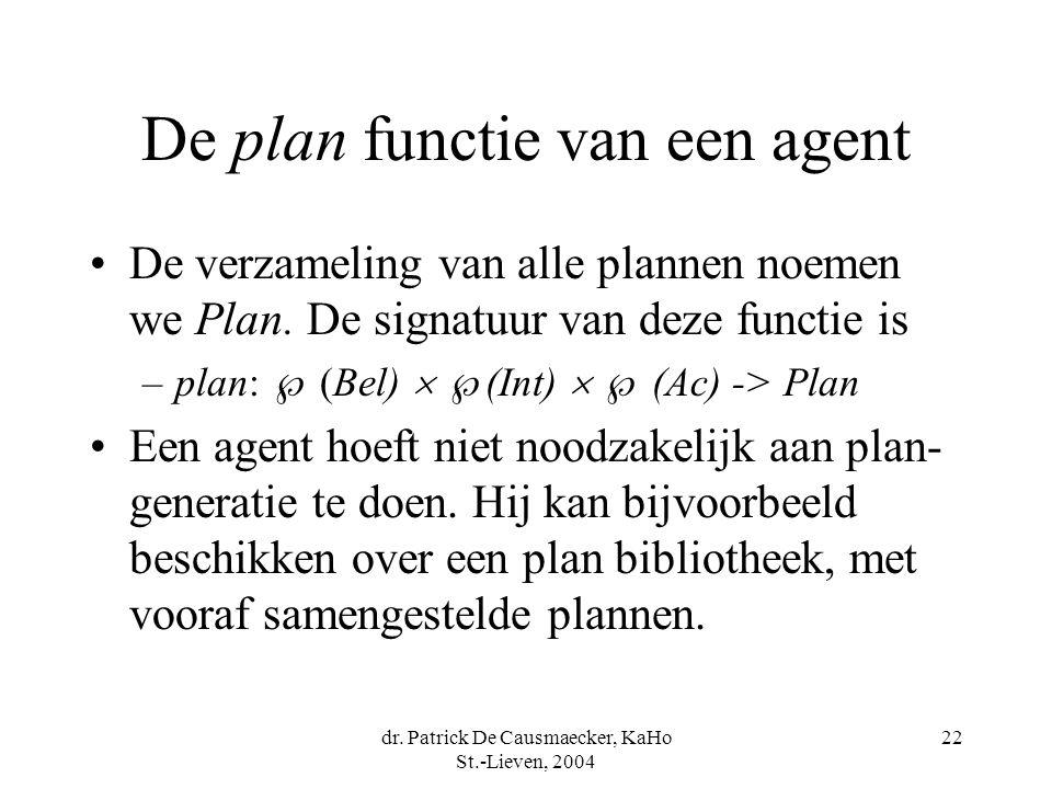 dr. Patrick De Causmaecker, KaHo St.-Lieven, 2004 22 De plan functie van een agent De verzameling van alle plannen noemen we Plan. De signatuur van de