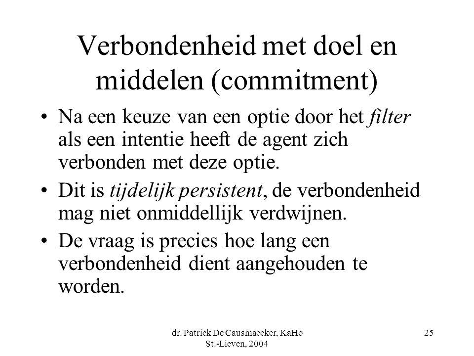 dr. Patrick De Causmaecker, KaHo St.-Lieven, 2004 25 Verbondenheid met doel en middelen (commitment) Na een keuze van een optie door het filter als ee