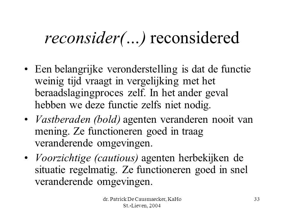 dr. Patrick De Causmaecker, KaHo St.-Lieven, 2004 33 reconsider(…) reconsidered Een belangrijke veronderstelling is dat de functie weinig tijd vraagt