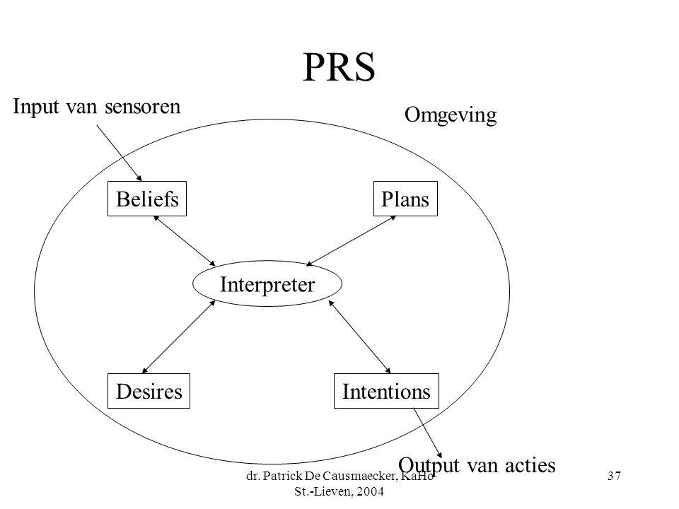 dr. Patrick De Causmaecker, KaHo St.-Lieven, 2004 37 PRS BeliefsPlans DesiresIntentions Interpreter Input van sensoren Output van acties Omgeving