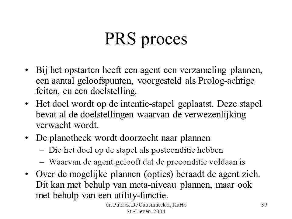dr. Patrick De Causmaecker, KaHo St.-Lieven, 2004 39 PRS proces Bij het opstarten heeft een agent een verzameling plannen, een aantal geloofspunten, v