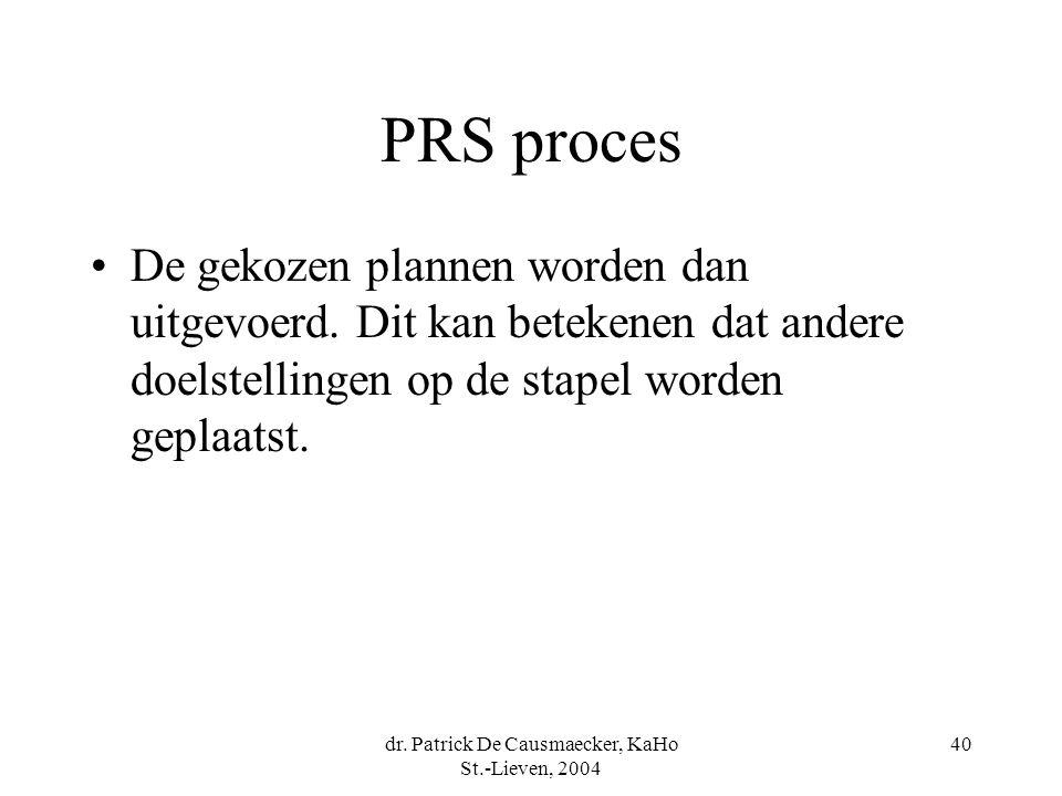 dr. Patrick De Causmaecker, KaHo St.-Lieven, 2004 40 PRS proces De gekozen plannen worden dan uitgevoerd. Dit kan betekenen dat andere doelstellingen