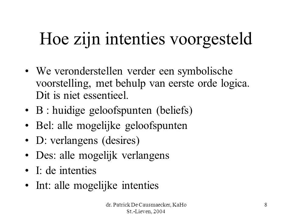 dr. Patrick De Causmaecker, KaHo St.-Lieven, 2004 8 Hoe zijn intenties voorgesteld We veronderstellen verder een symbolische voorstelling, met behulp
