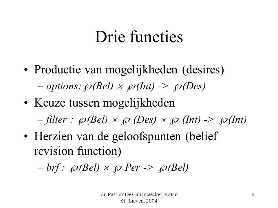 dr. Patrick De Causmaecker, KaHo St.-Lieven, 2004 9 Drie functies Productie van mogelijkheden (desires) –options:  (Bel)   (Int) ->  (Des) Keuze t