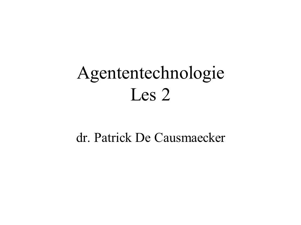 Definitie Autonomie (algemeen aanvaard) Leren (zeker niet altijd nodig noch gewenst) … Een agent is een computersysteem, gesitueerd in een omgeving, dat in staat is autonoom acties in deze omgeving te ondernemen om zijn ontwerpdoelen te realiseren.