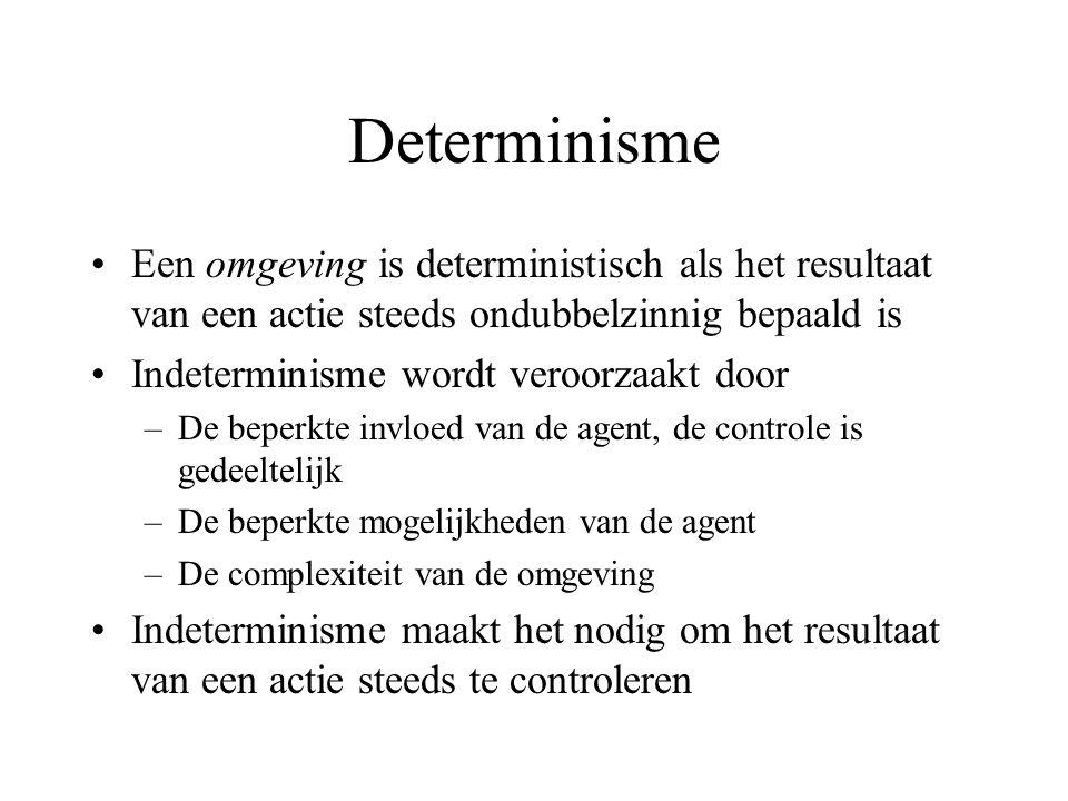 Determinisme Een omgeving is deterministisch als het resultaat van een actie steeds ondubbelzinnig bepaald is Indeterminisme wordt veroorzaakt door –De beperkte invloed van de agent, de controle is gedeeltelijk –De beperkte mogelijkheden van de agent –De complexiteit van de omgeving Indeterminisme maakt het nodig om het resultaat van een actie steeds te controleren