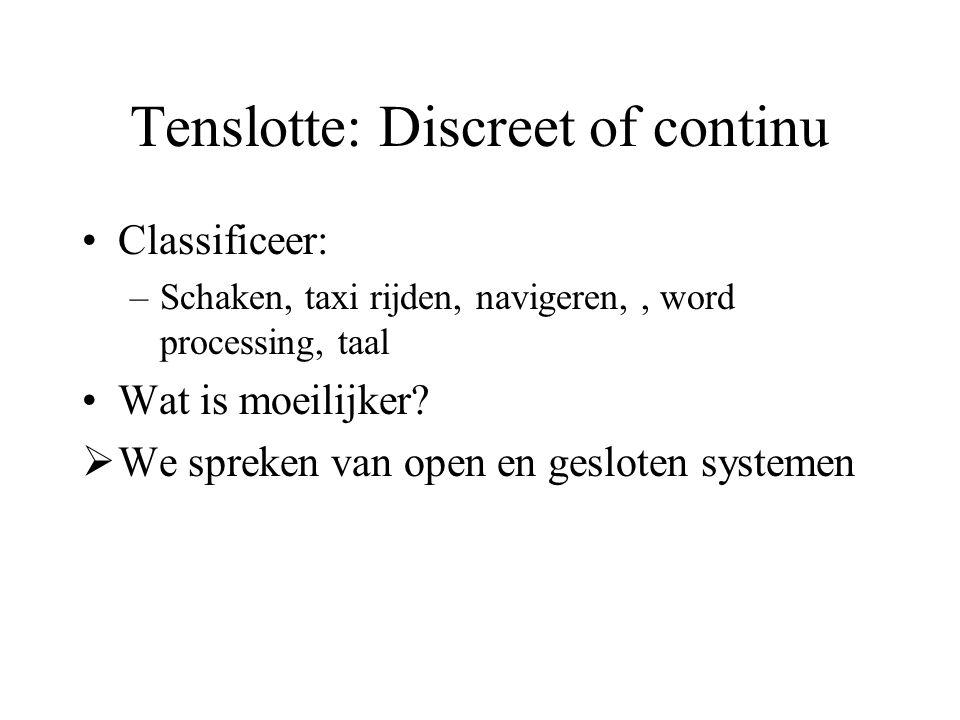 Tenslotte: Discreet of continu Classificeer: –Schaken, taxi rijden, navigeren,, word processing, taal Wat is moeilijker.